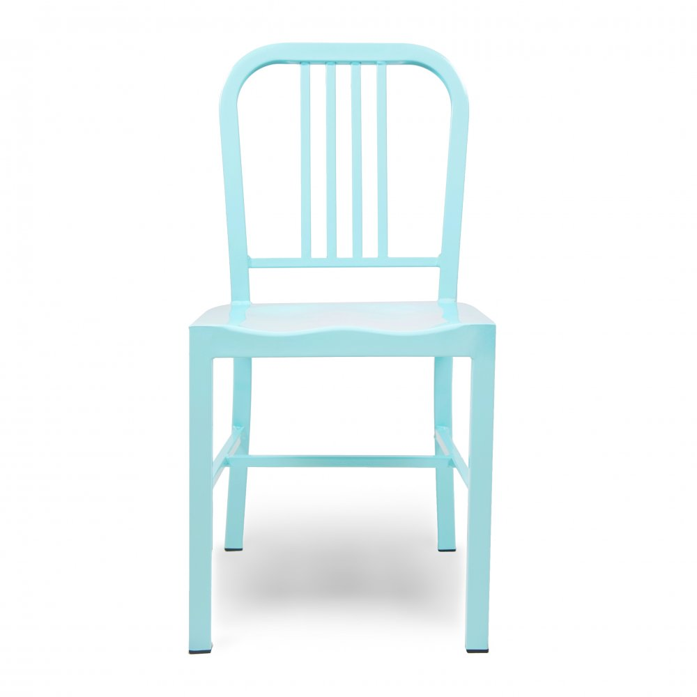 navy style light blue steel dining chair