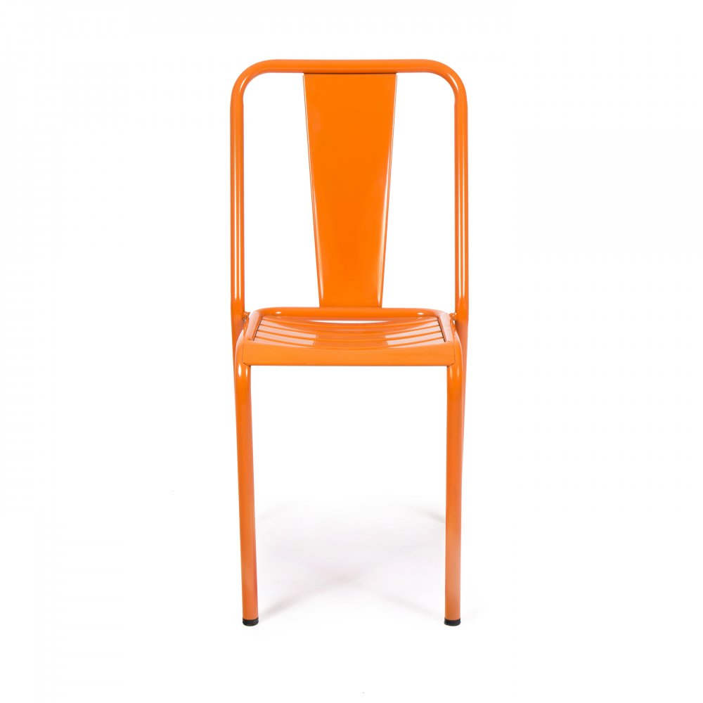 Orange french metal bistro chair cult uk for Chaise bistrot metal