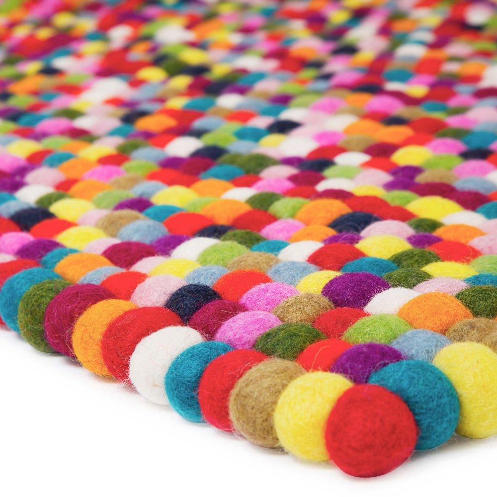 Rectangle Multi Coloured Felt Ball Rug