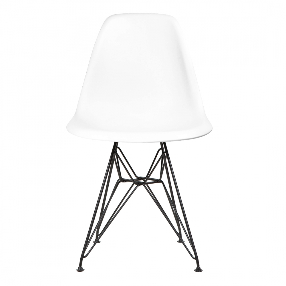 Style White DSR Eiffel Chair (Black Legs) | Cult UK