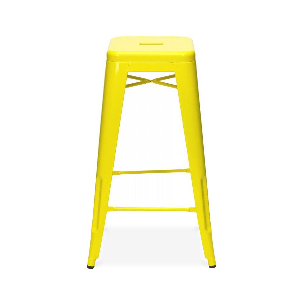 Yellow powder coated 75cm tolix style industrial stool - Tabouret bar aubergine ...