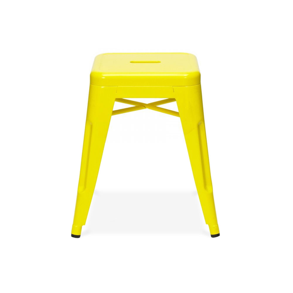 Tolix Style Metal Low Stool Yellow 45cm