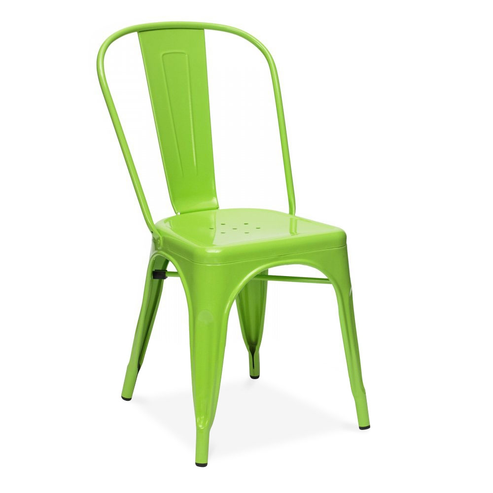 Charming Xavier Pauchard Tolix Style Metal Side Chair   Lime Green