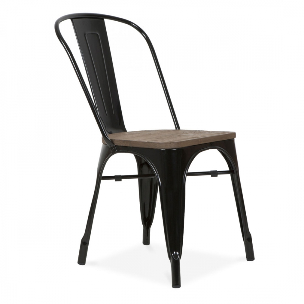 Xavier pauchard style black side chair with elm wood seat Wood and steel furniture
