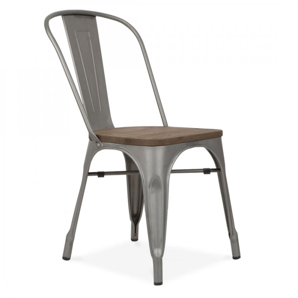 xavier pauchard gunmetal matte side chair with elm wood seat cult uk. Black Bedroom Furniture Sets. Home Design Ideas