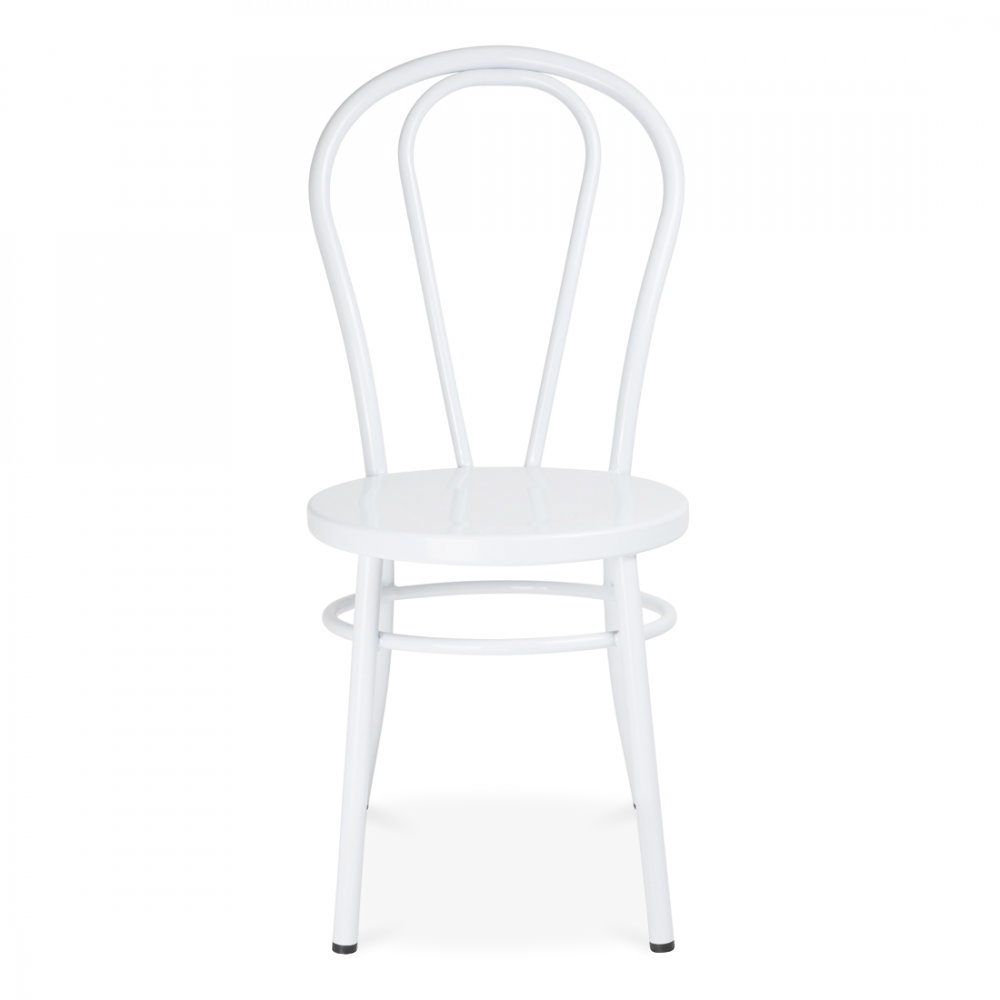 Delightful Thonet Style White Retro Bentwood Steel Chair