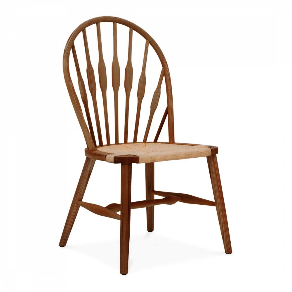 Brown hans wegner style peacock dining chair wooden for Wegner dining chair