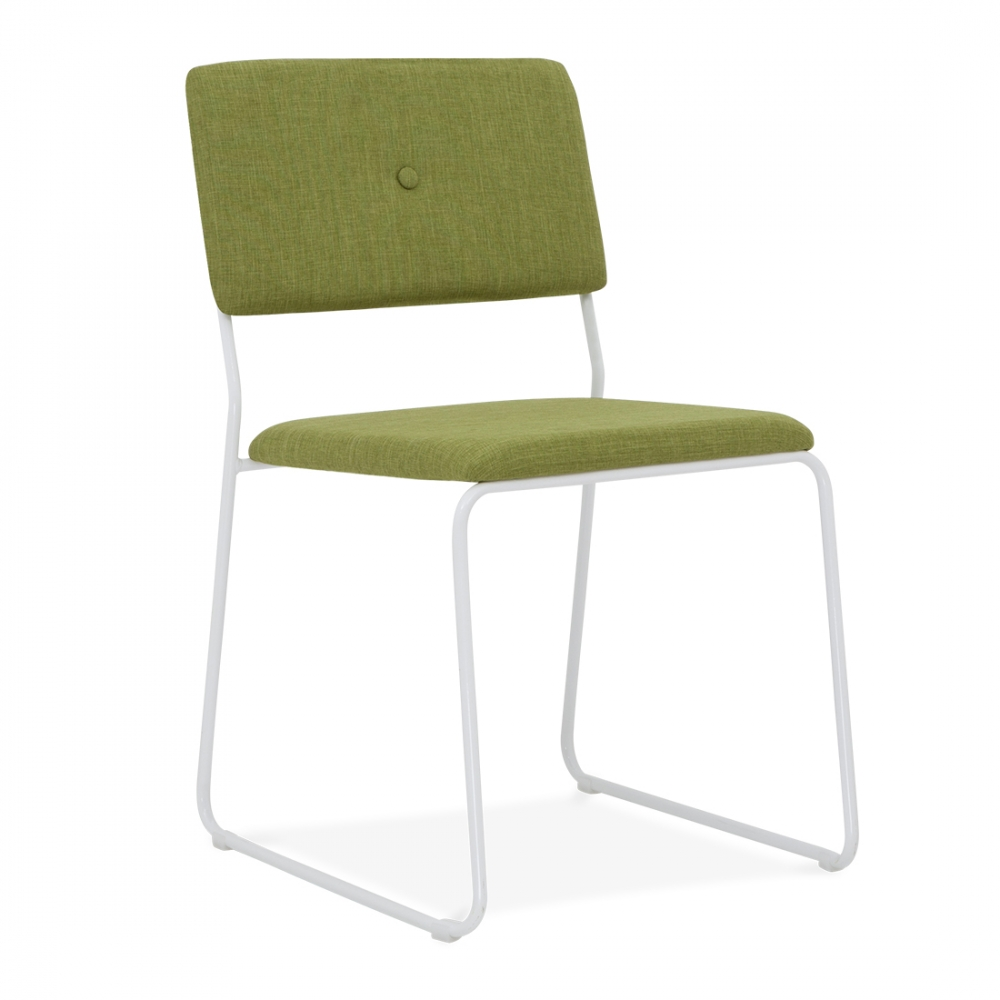 bauhaus style white stackable dining chair with green seat cult uk