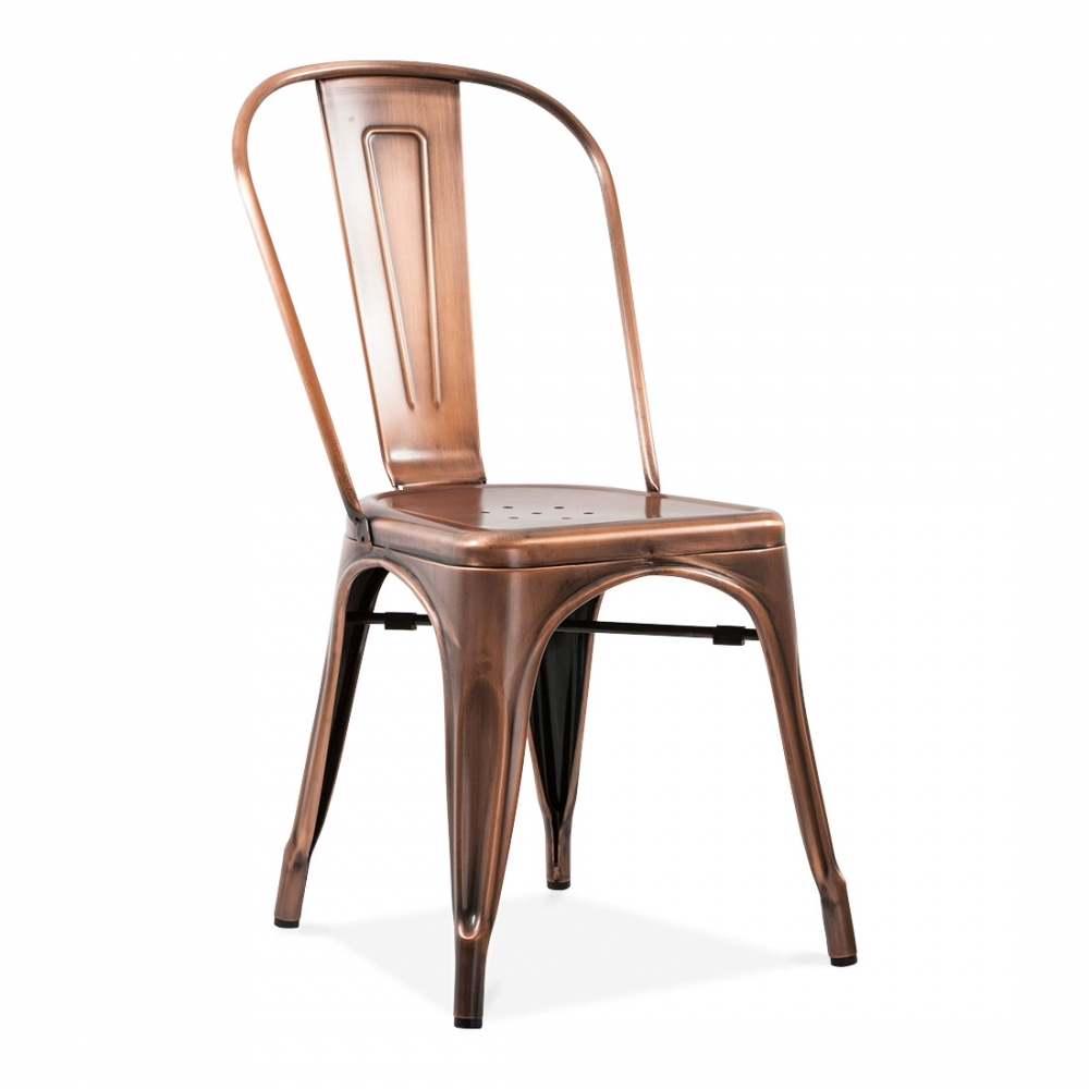 Chaises Metal Tolix #13: Xavier Pauchard Tolix Style Metal Side Chair - Brushed Copper