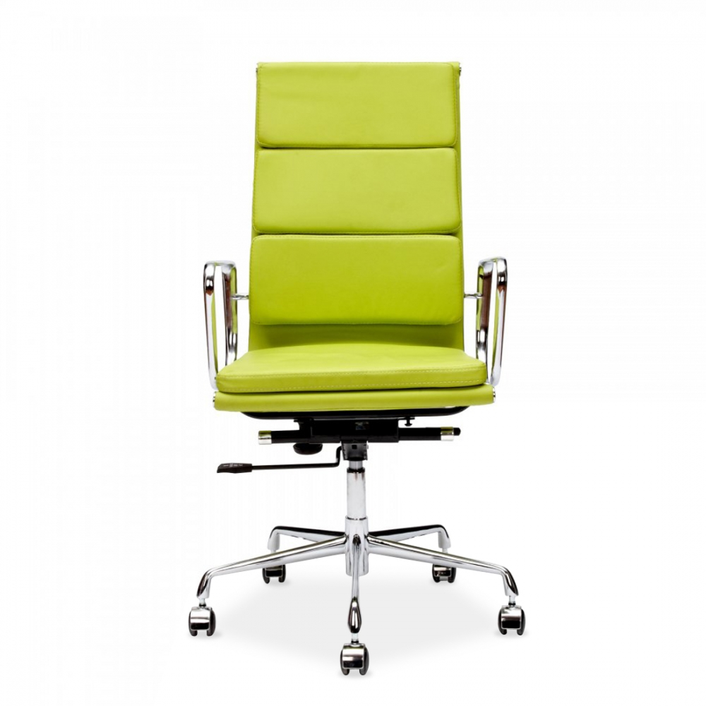 Green chair for office - Iconic Designs Apple Green Soft Pad Executive Office Chair