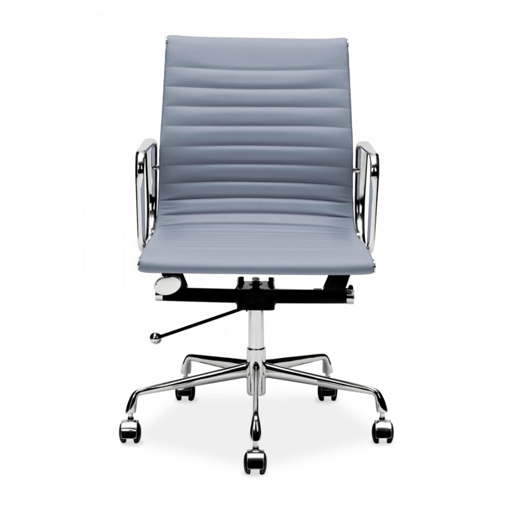 Charles eames style grey short back ribbed office chair for Eames schreibtischstuhl