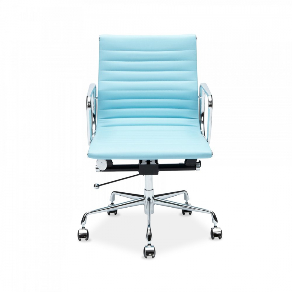 light blue eames style ribbed short back office chair cult uk