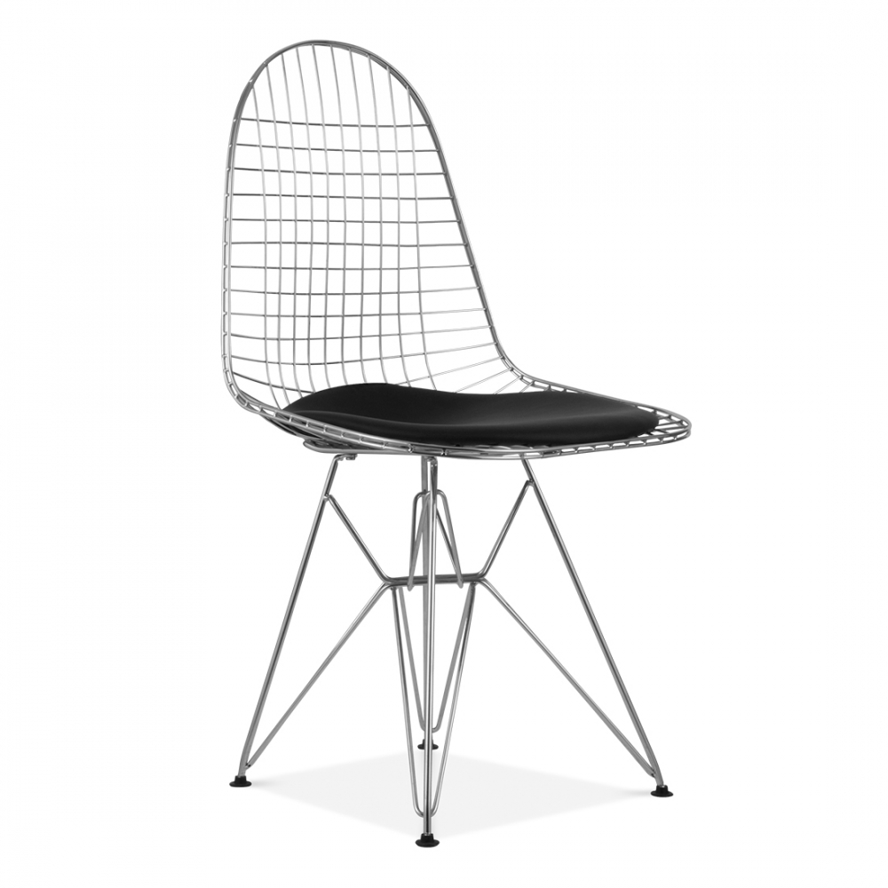 Eames style chrome dkr wire chair side cafe chairs for Chaise bistrot noire