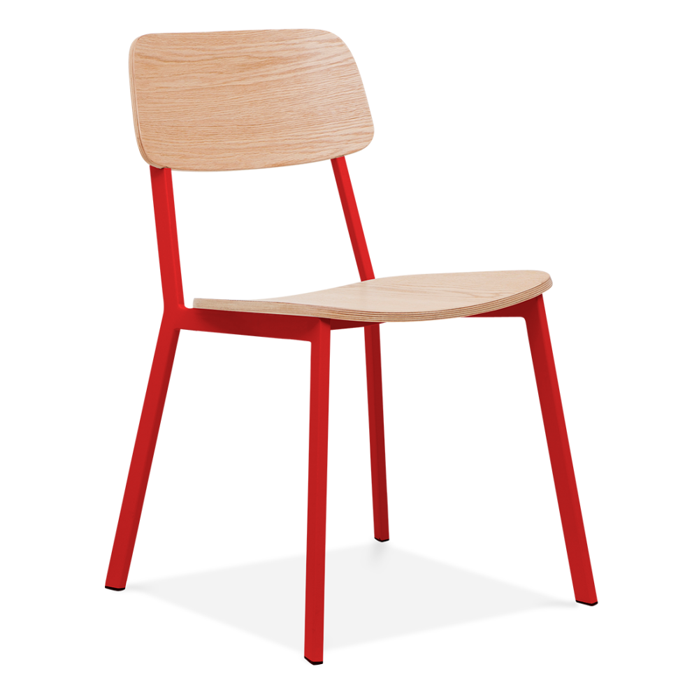 Cult Living Hipster Chair Red With Oak Veneer Back And Seat
