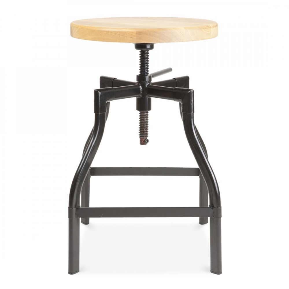 Turner Industrial Swivel Stool In Black 45cm Bar Stools