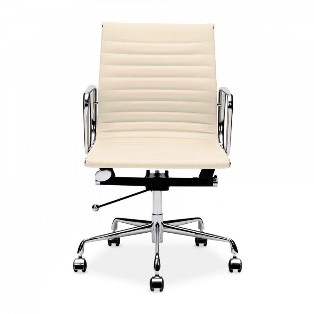 Amazing Eames Inspired Cream Short Back Ribbed Office Chair. U2039