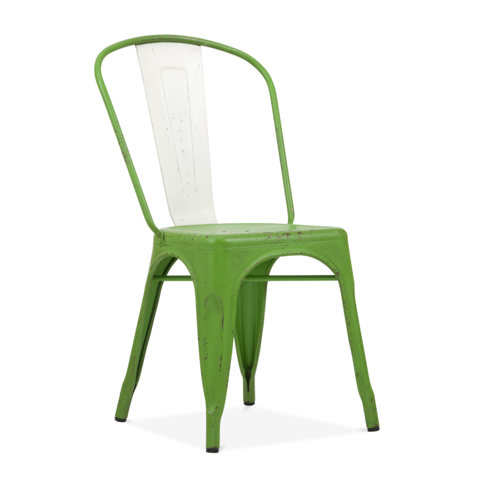 Xavier Pauchard Hand Distressed Vintage Tolix Style Side Chair With White  Back   Garden Green