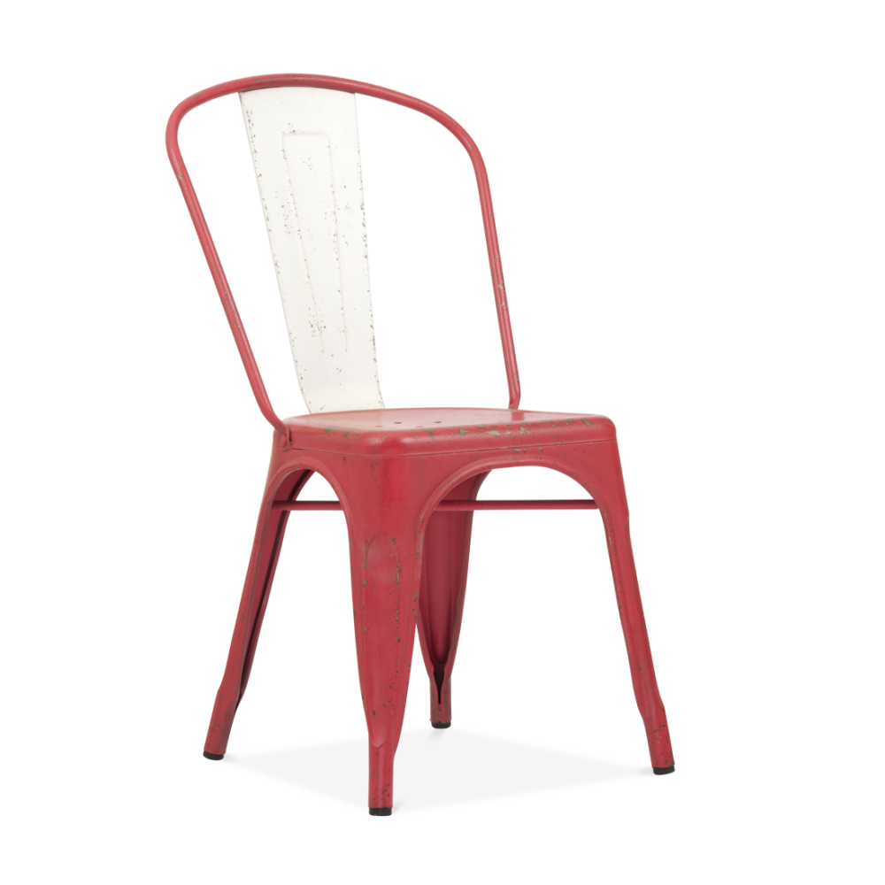 Cafe tables and chairs png - Xavier Pauchard Hand Distressed Vintage Tolix Style Side Chair With White Back Red