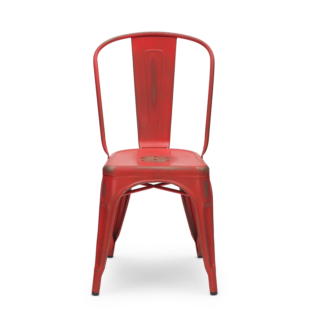 Vintage Tolix Style Metal Dining Chair, Red | Cult UK
