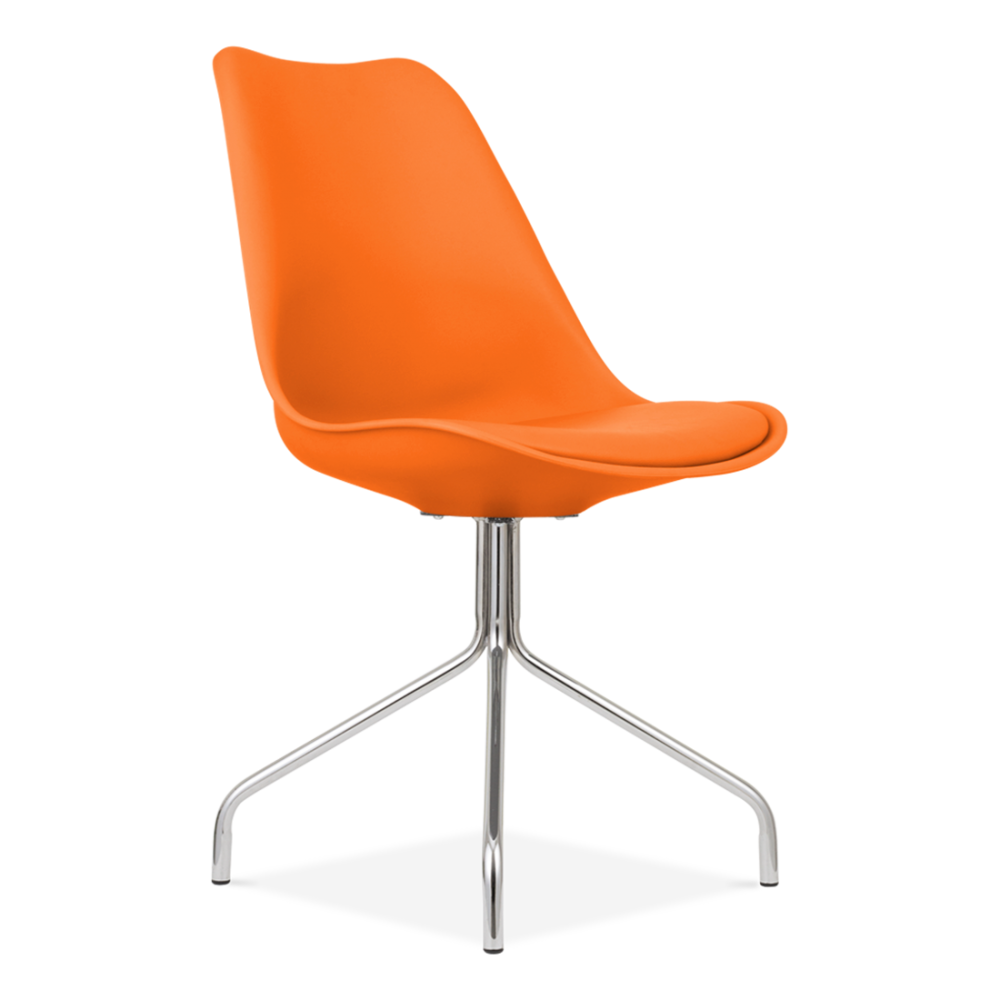 Orange Dining Chairs: Orange Eames Style Chair Cross Legs