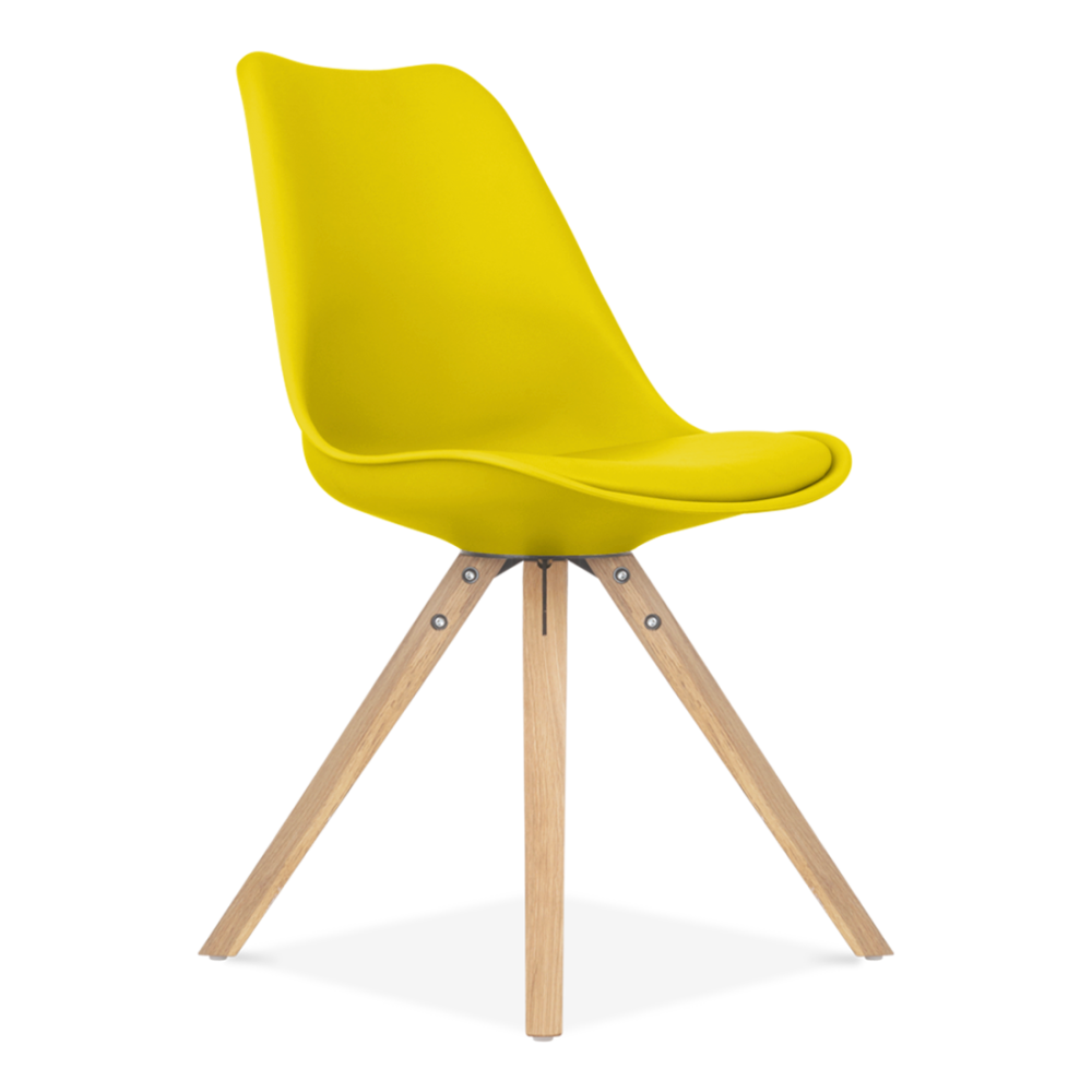 Eames inspired dining chair in yellow with pyramid wood for Modern yellow dining chairs