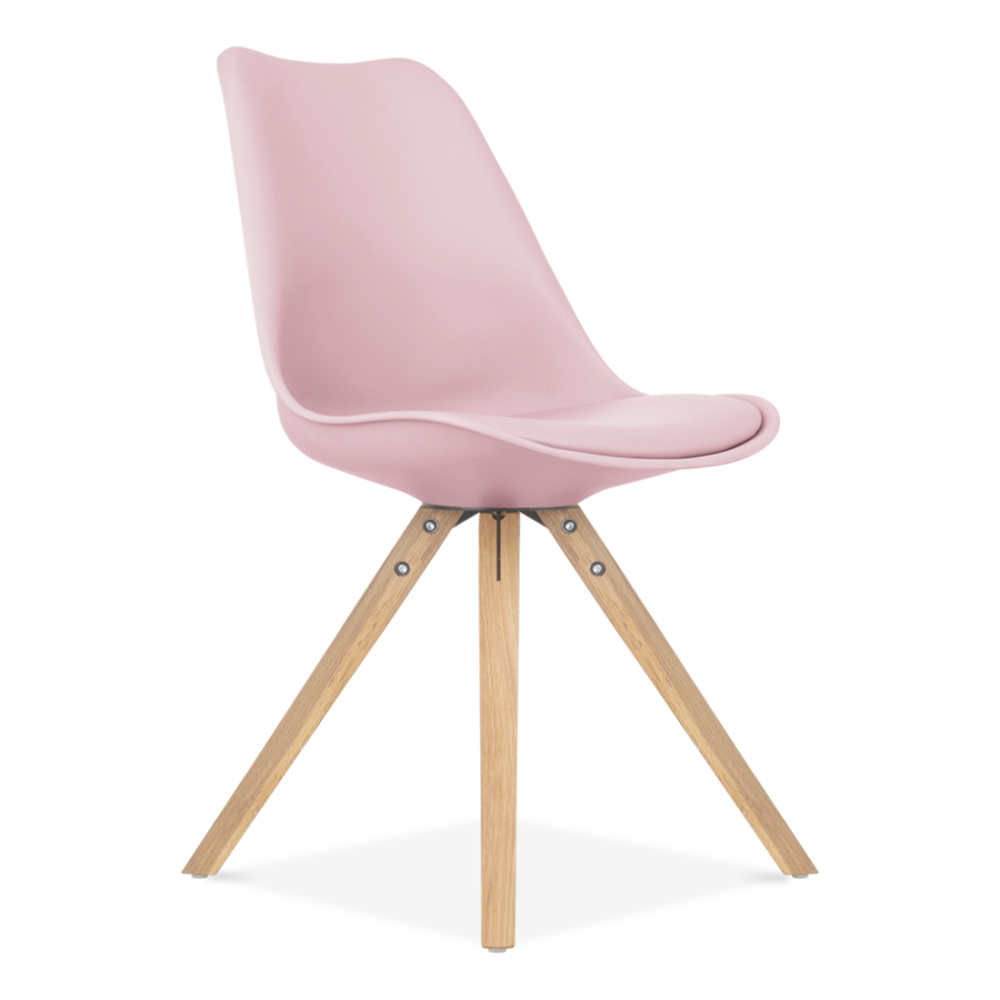 Pastel pink dining chair solid oak wood legs cult for Chaise inspiration eames pas cher