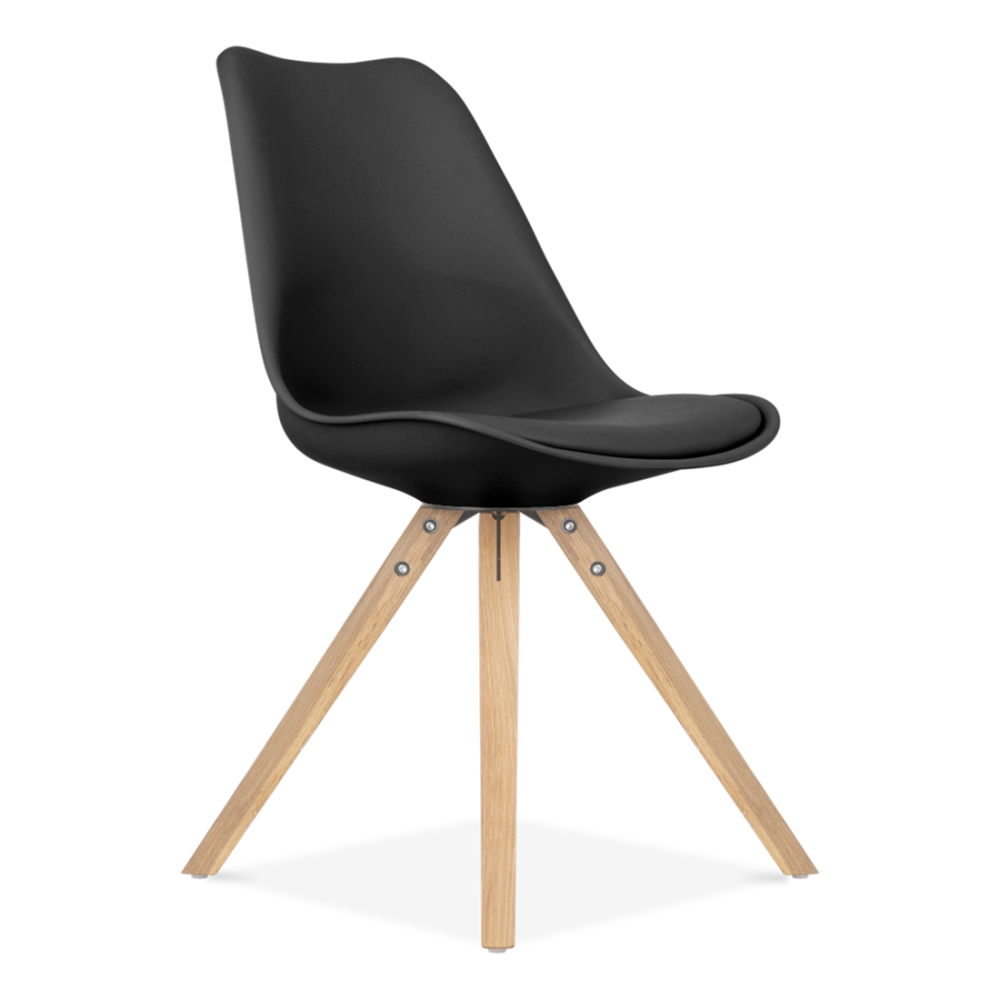 Black eames inspired chairs with pyramid solid oak wood for Furniture chairs