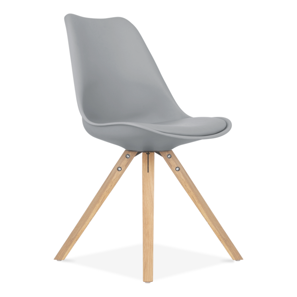 dining chair in grey with pyramid style solid oak legs. Black Bedroom Furniture Sets. Home Design Ideas