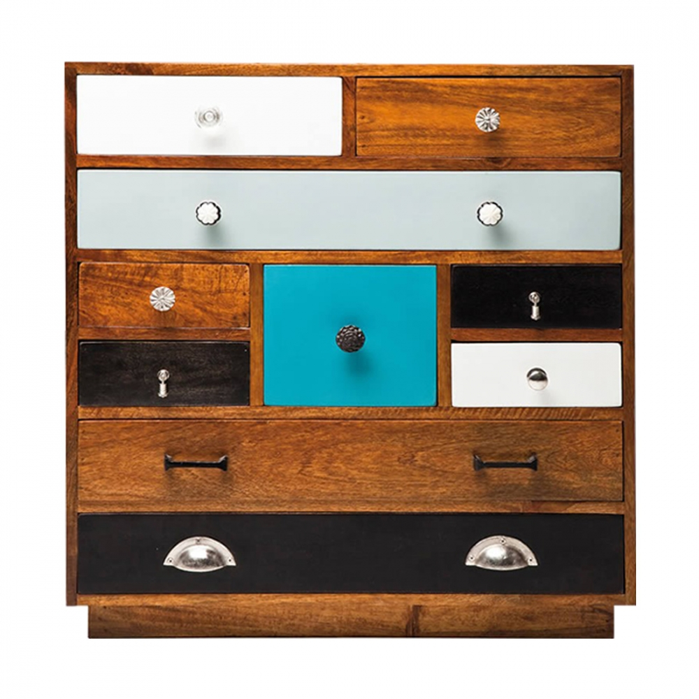 Modern Jasmine Wooden Multi Coloured Chest Of Drawers