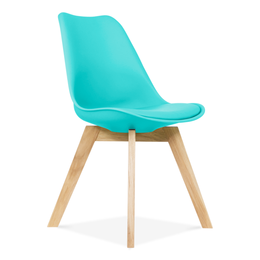 Eames inspired turquoise dining chairs with crossed wood for Chaise scandinave