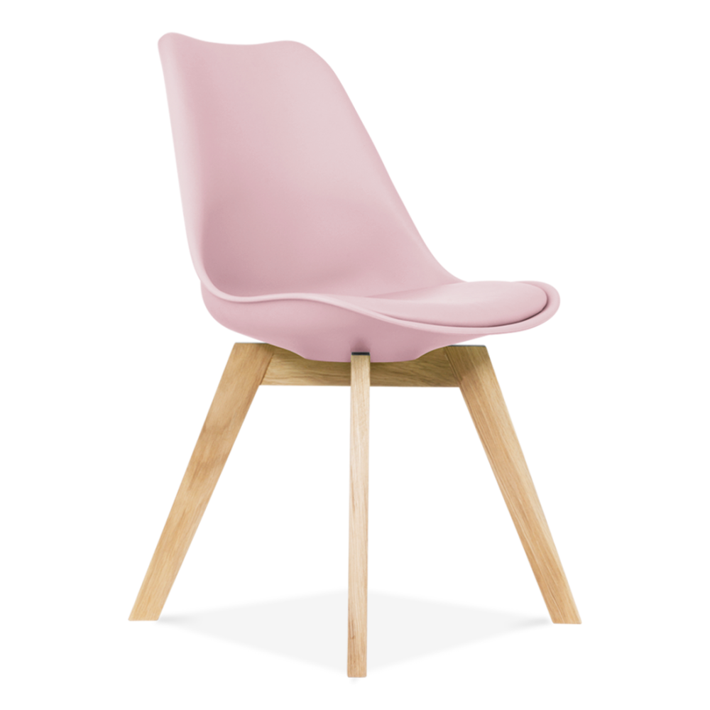 Pastel Pink Dining Chair Oak Crossed Wood Legs