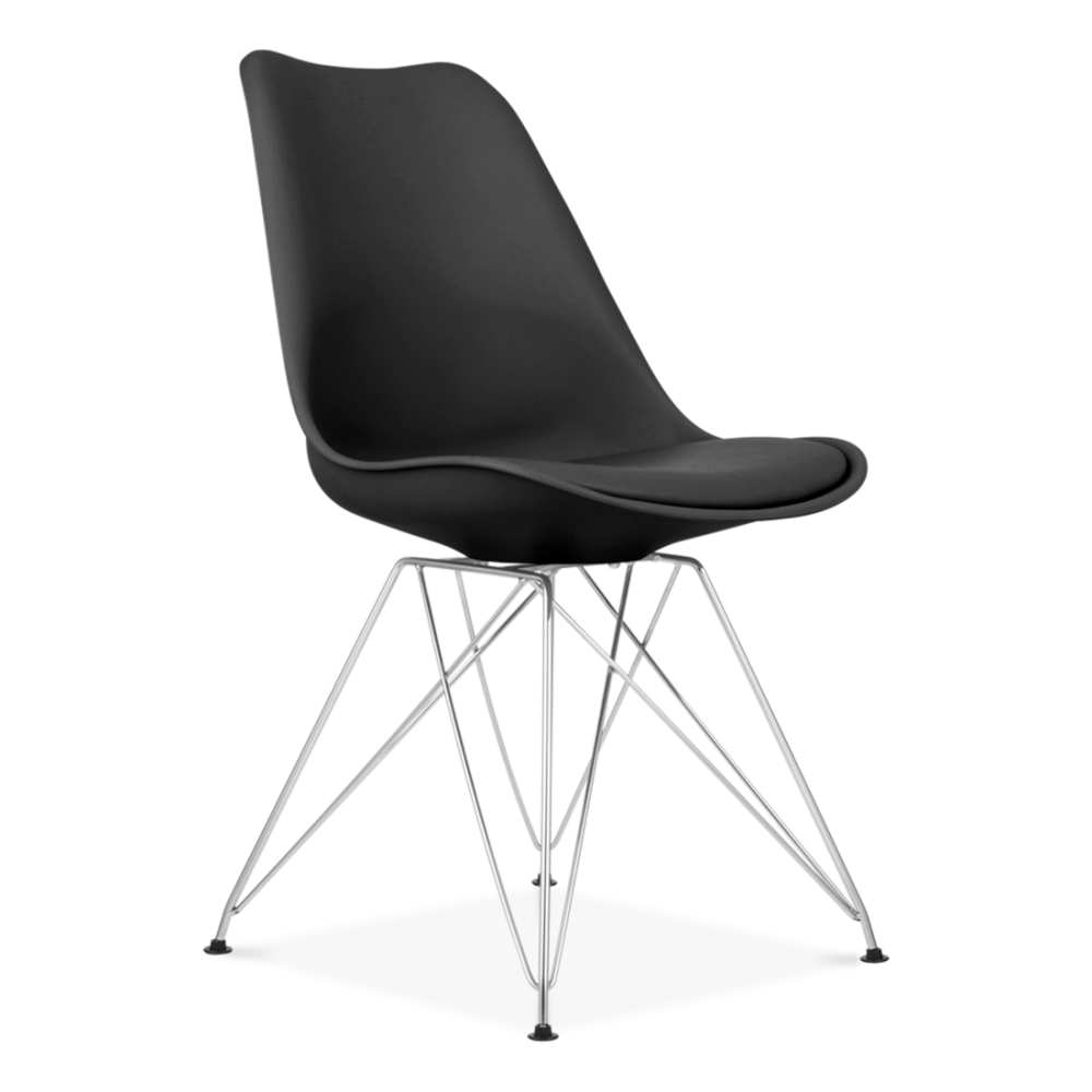Cafe table and chairs png - Eames Inspired Black Dining Chair With Eiffel Metal Legs