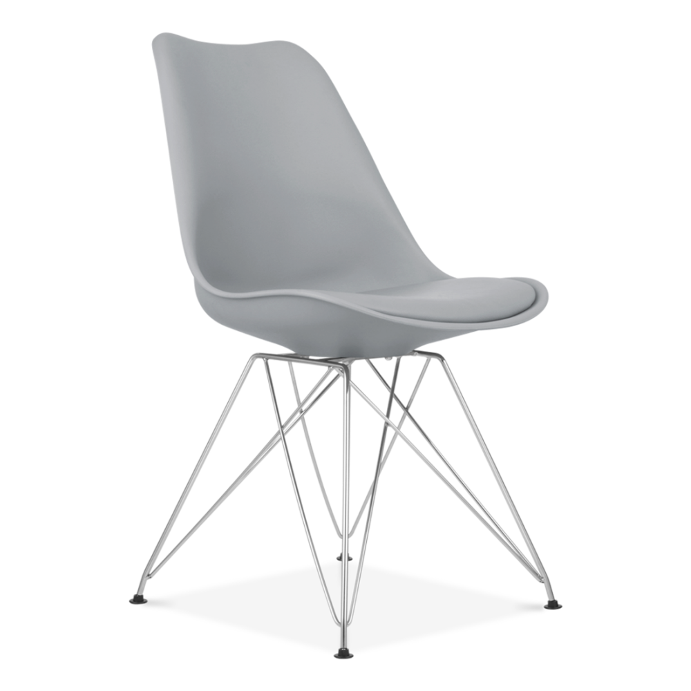 Eames inspired dining chair in cool grey with eiffel metal for Chaise eames rose pale