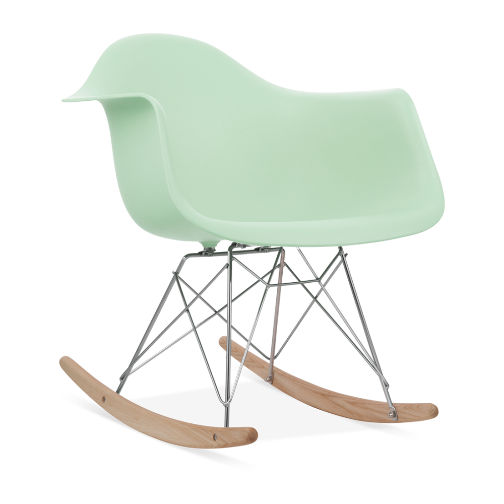 White rar rocker chair eames style cult uk for Chaise fourrure