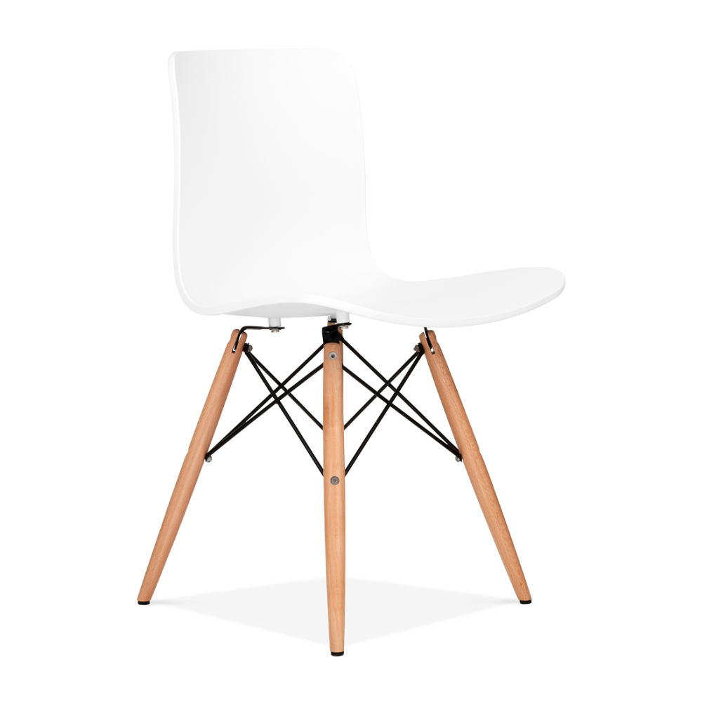 Berlin white eames inspired dining chair with dsw wood for Chaise dsw blanche