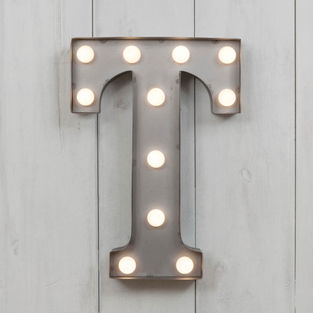 T Vegas Metal 11 Mini LED Letter Lights Industrial