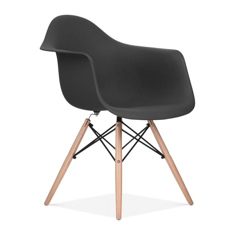 Black charles eames style daw chair side cafe chairs for Chaise eames design