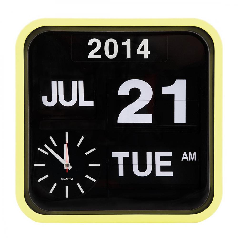 lemon sorbet retro square calender flip clock  wall clocks  cult uk - cult living retro square calender flip clock  lemon sorbet ‹
