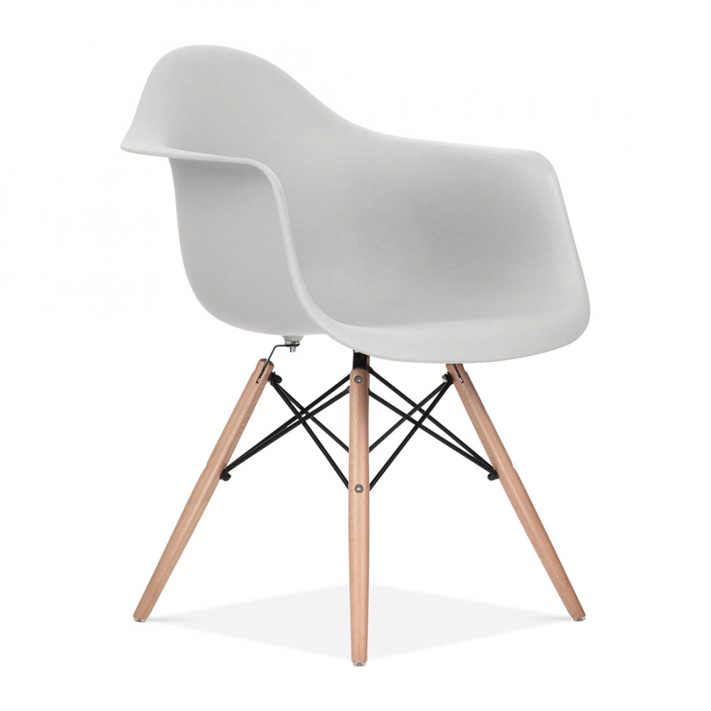 Light grey eames style daw chair side cafe chairs for Chaise eames bleu paon