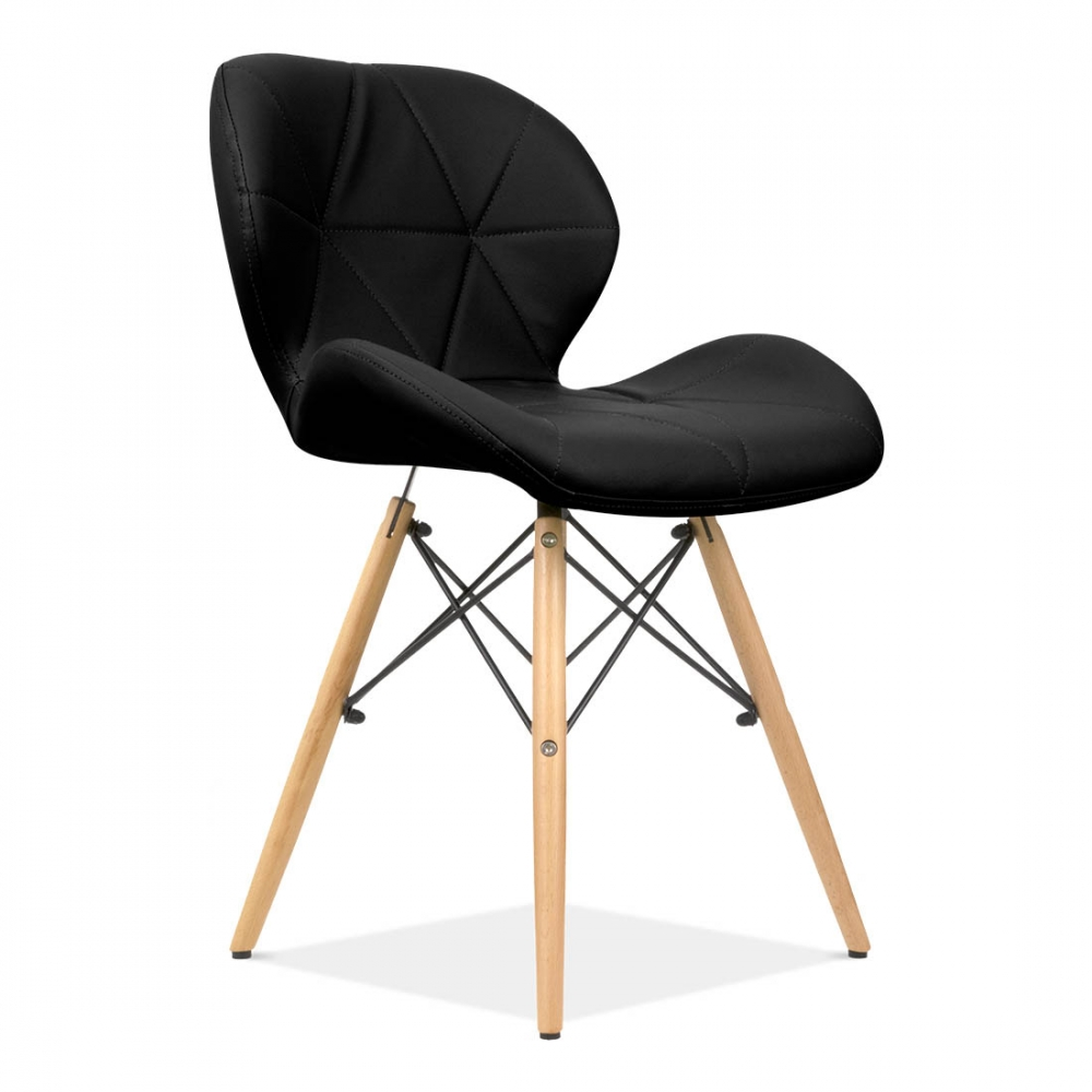 Eames Inspired Upholstered Black Butterfly Dining Chair