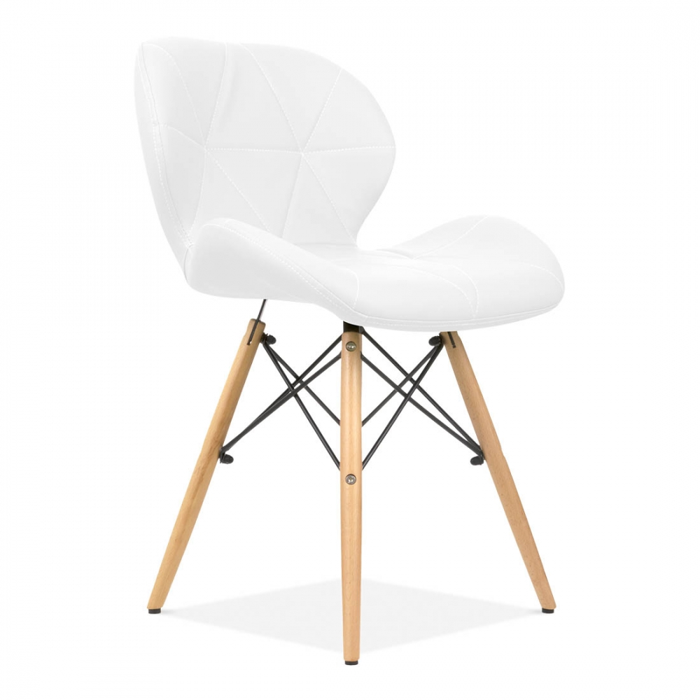 Eames inspired upholstered white butterfly dining chair for Inspiration eames