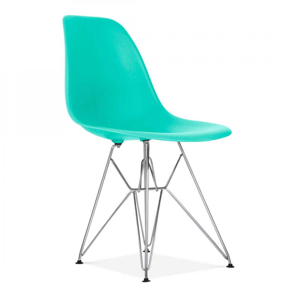 Turquoise eames dsr eiffel chair cafe side chairs for Chaise eames pied eiffel