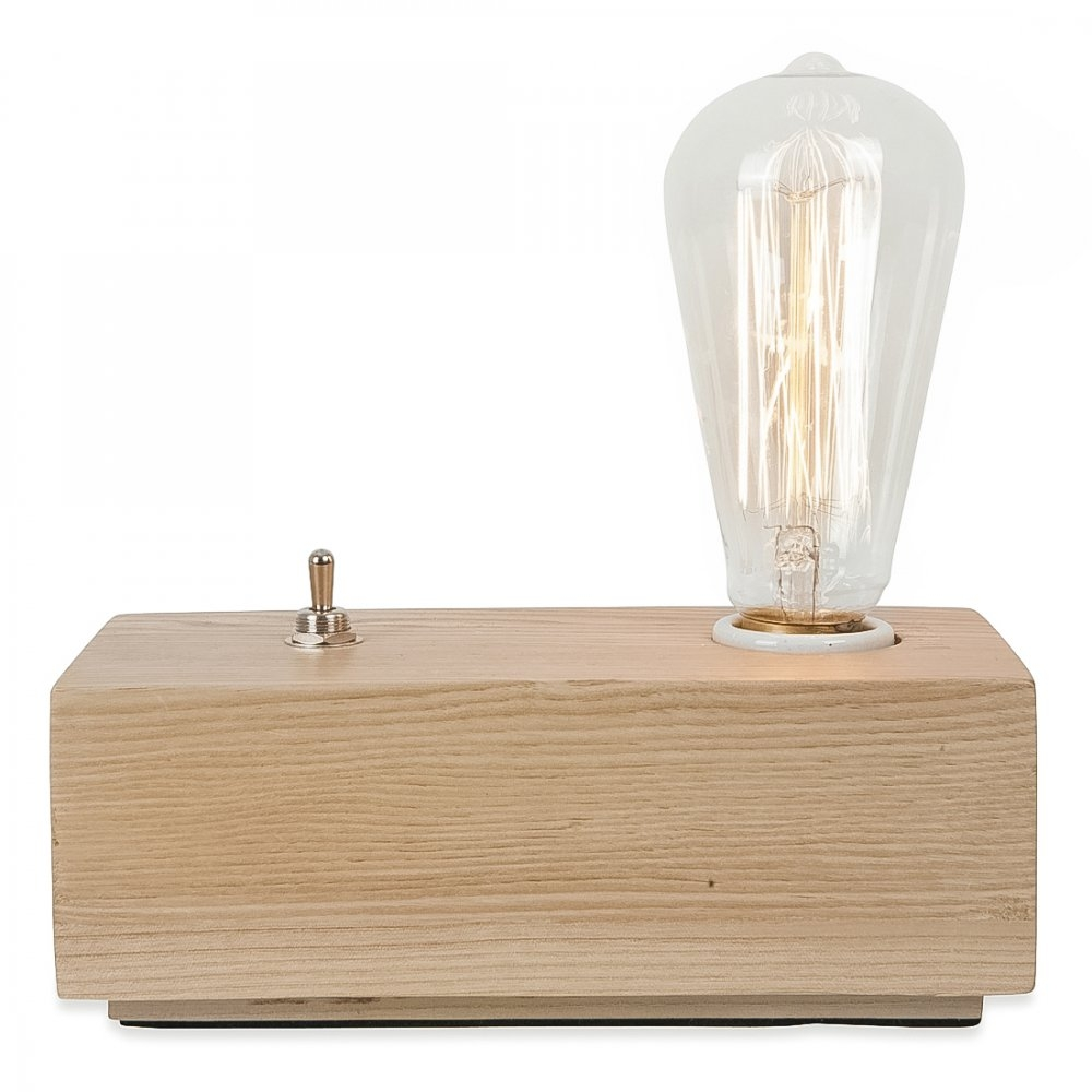 Vintage style wood black edison table lamp natural for Vintage wooden table lamps