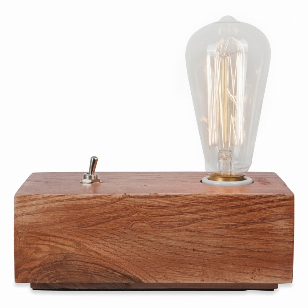 Vintage style wood black edison table lamp in brown cult uk for Vintage wooden table lamps
