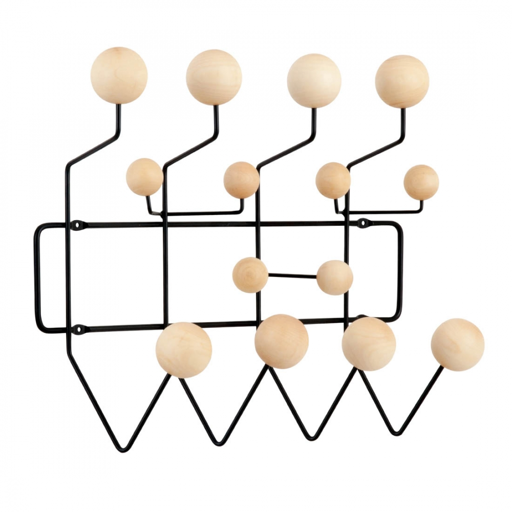 black eames hang it all with natural balls coat hangers. Black Bedroom Furniture Sets. Home Design Ideas