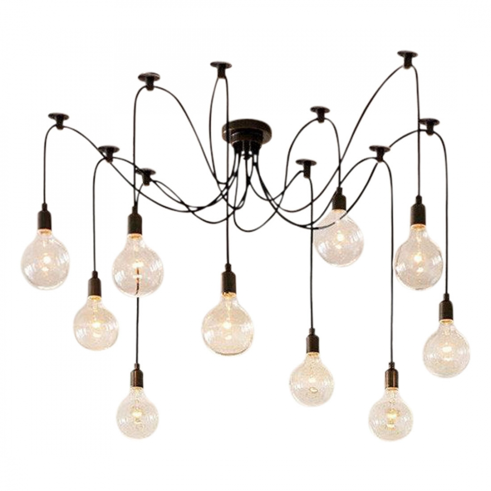 Edison spider lamp in black modern chandelier cult uk for Designer lighting