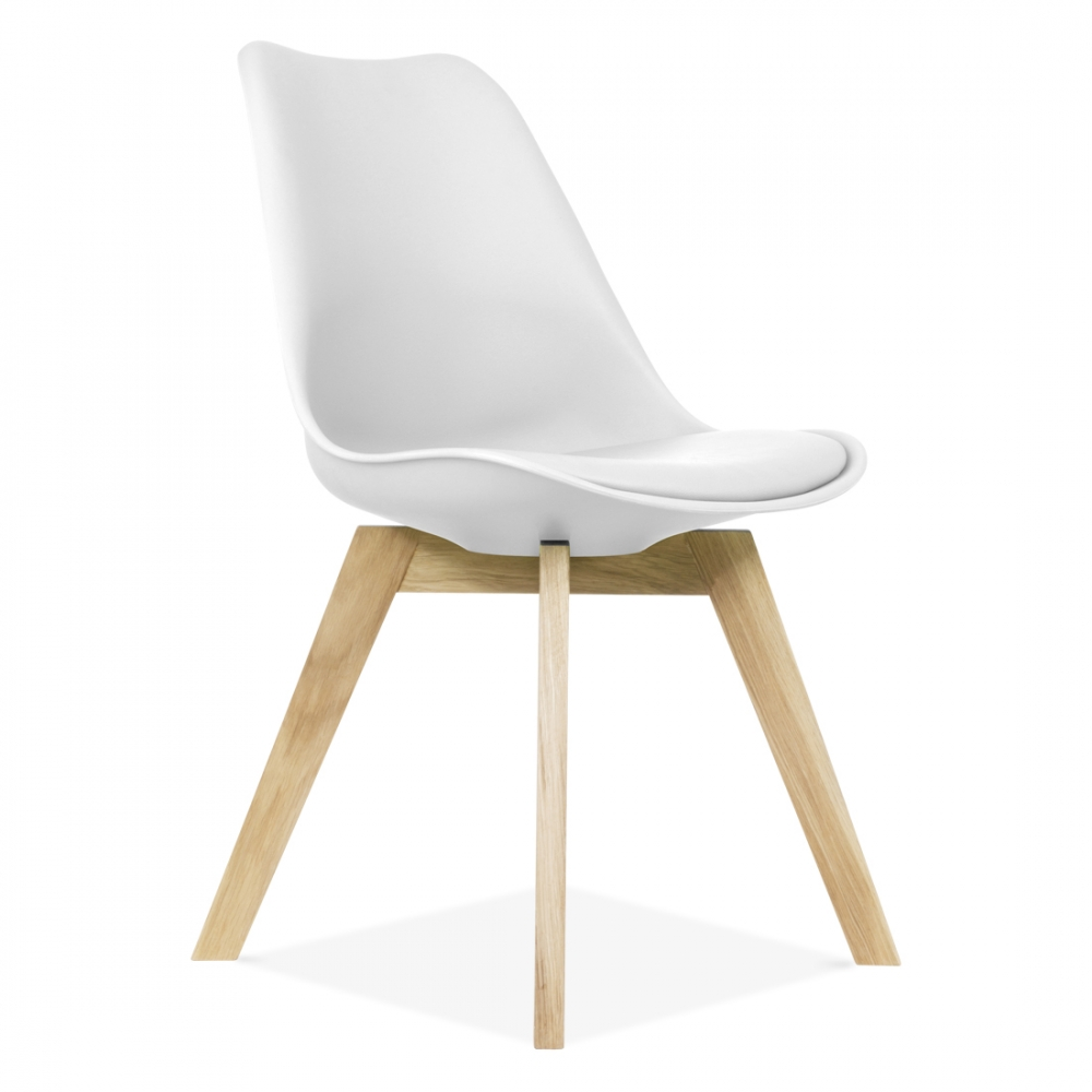 Eames Inspired White Dining Chairs With Solid Crossed Oak Wood Leg Base. U2039