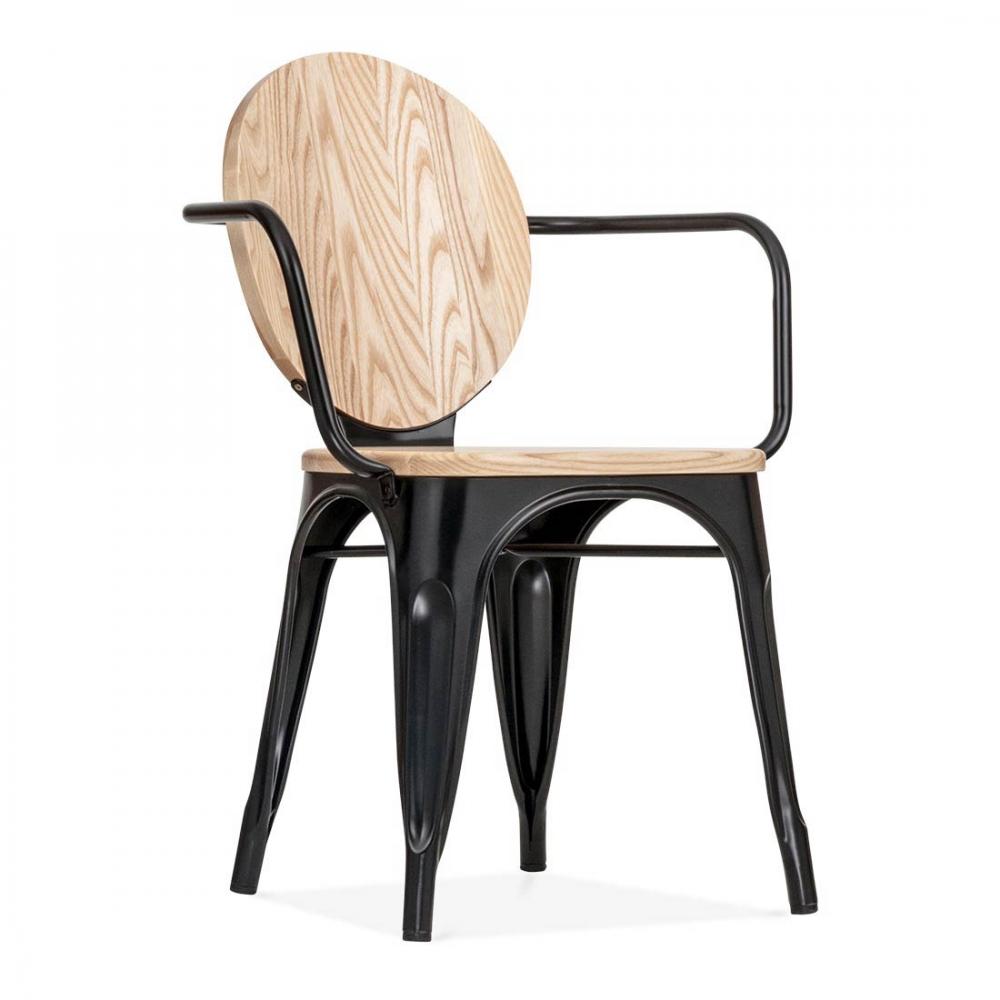 Cult Living Louis Armchair Metal With Wood Seat Option   Black. U2039