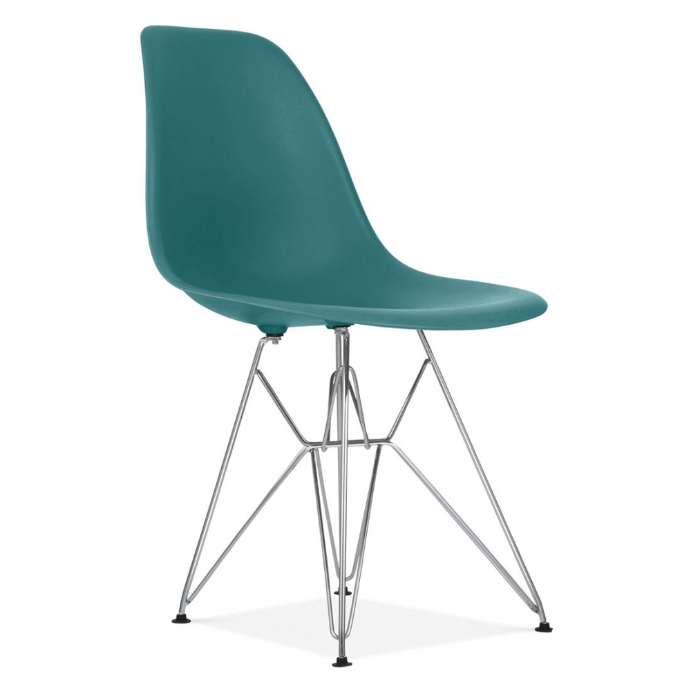Teal eames style dsr eiffel chair side cafe chairs for Eiffel chair de charles eames