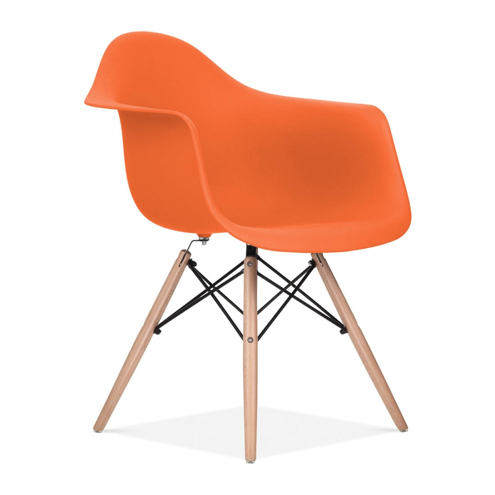 Orange charles eames style daw chair side cafe chairs for Iconic furniture designers